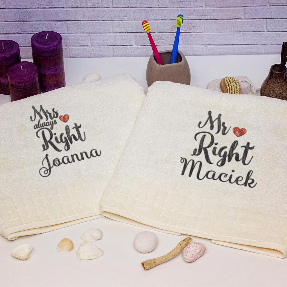 prezent dla pary- zestaw ręczników z haftem