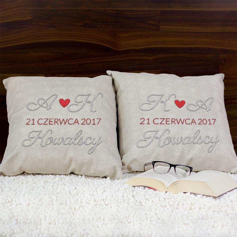 zestaw poduszek dekoracyjnych - nasza rocznica
