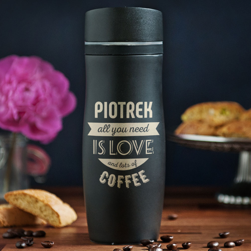 kubek termiczny - love and a lot of coffee