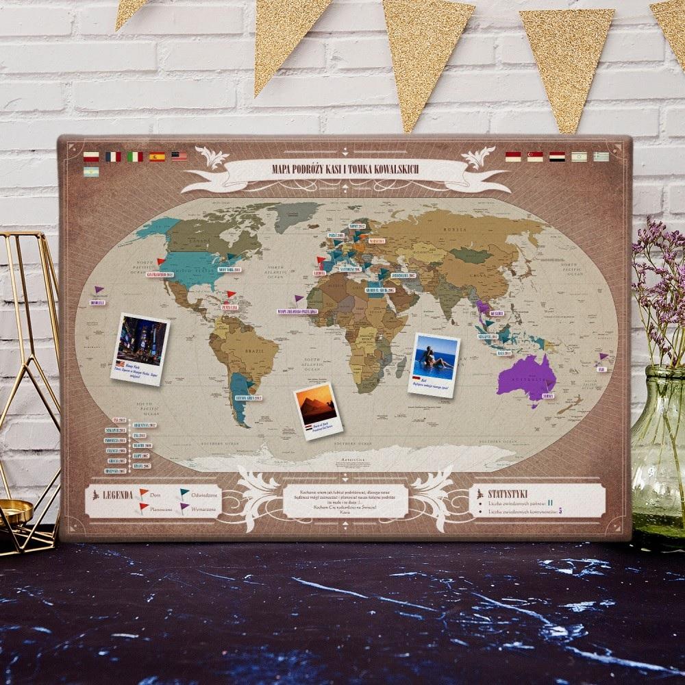 Mapa podróży na płótnie - świat