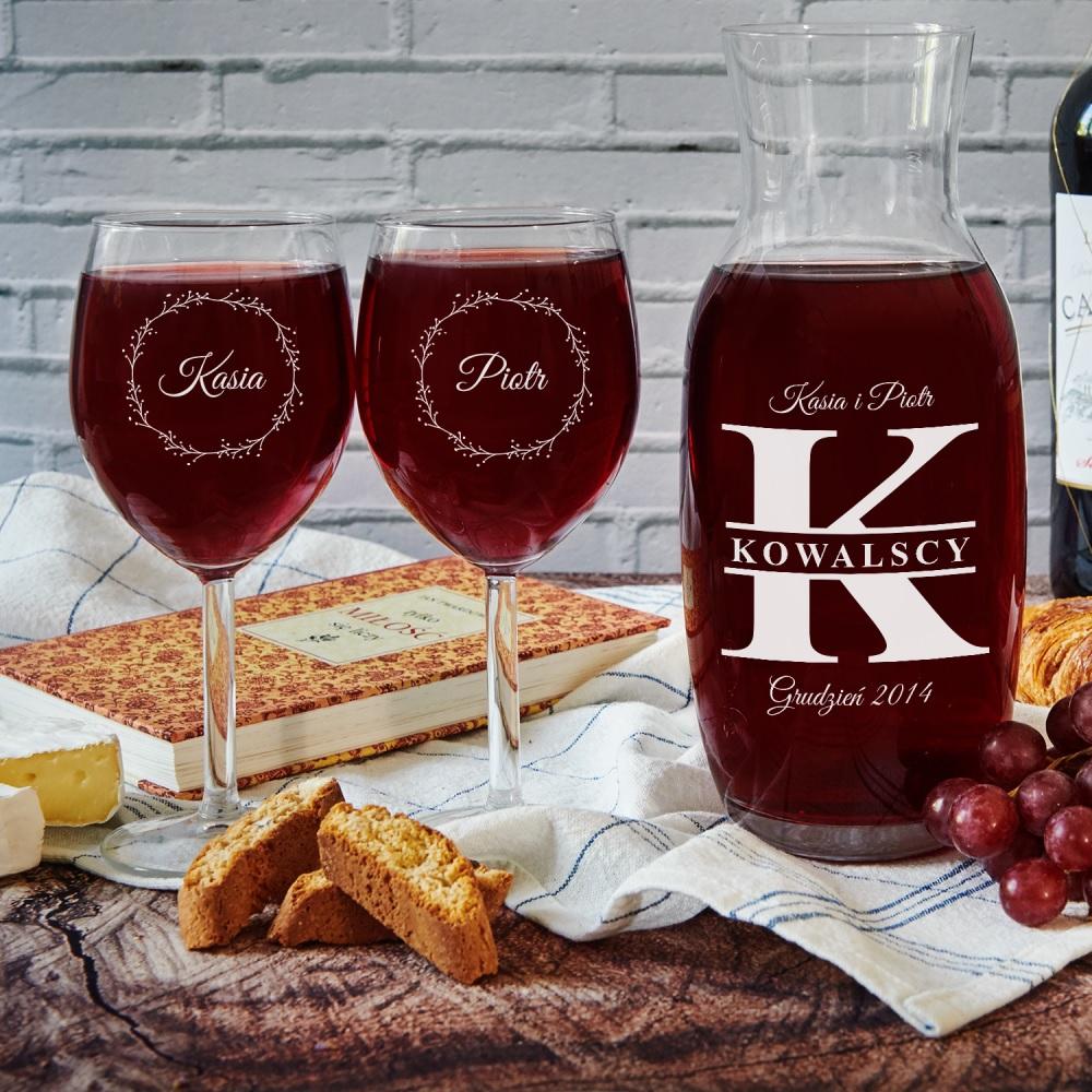 Karafka i kieliszki do wina - grawer na szkle