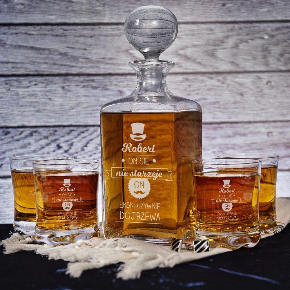 zestaw karafka i szklanki do whisky - prezent grawerowany